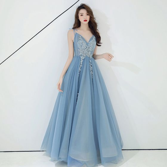 Chic / Beautiful Sky Blue Evening Dresses  2019 A-Line / Princess Sleeveless Beading Lace Flower Appliques Spaghetti Straps Backless Floor-Length / Long Formal Dresses