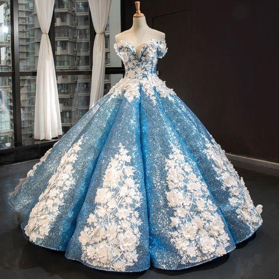 Brillante Hada de las flores Azul Bailando Vestidos de gala 2020 Ball Gown Fuera Del Hombro Manga Corta Apliques Flor Rebordear Perla Largos Ruffle Sin Espalda Vestidos Formales