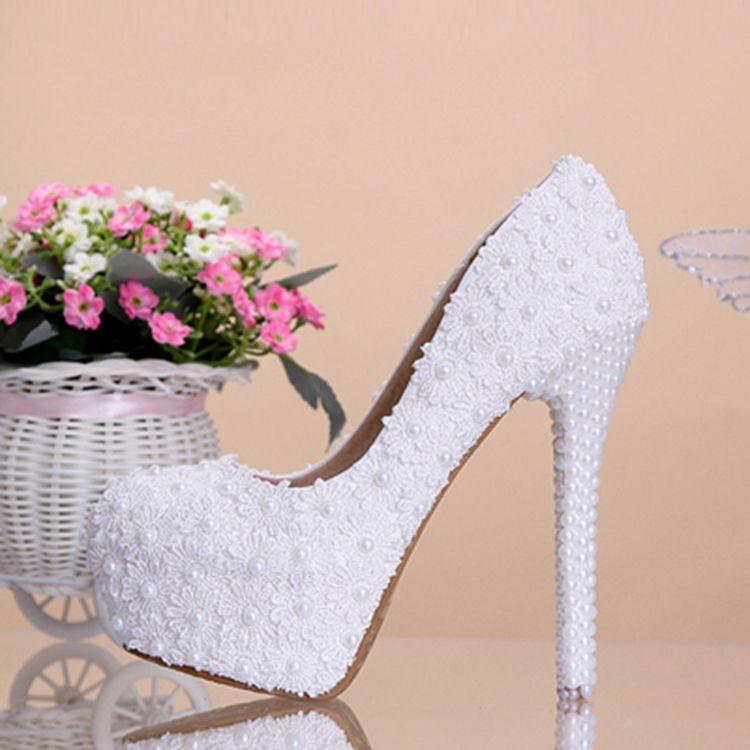 Mooie / Prachtige 2017 12 cm Witte Toevallig PU Appliques Parel Hoge Hakken Naaldhakken / Stiletto Pumps Bruidsschoenen