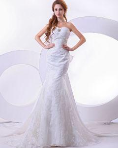 Satin Lace Pleat Beading Sweetheart Mermaid Chapel Train Wedding Dress
