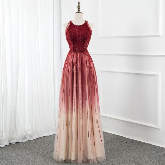 Luxury / Gorgeous Burgundy Gradient-Color Champagne Red Carpet Evening Dresses  2020 A-Line / Princess Scoop Neck Sleeveless Beading Sequins Floor-Length / Long Ruffle Formal Dresses