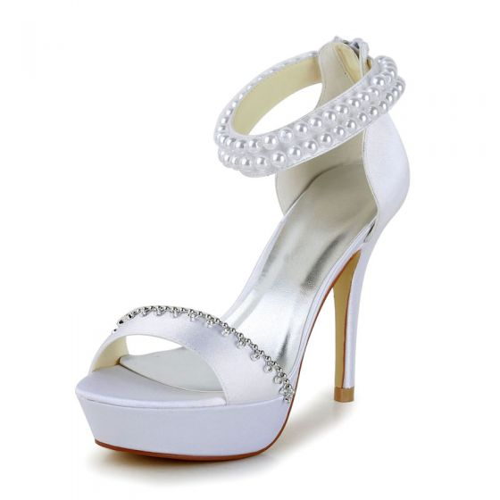 Sexy White Satin Prom Latin Dance Shoes 2021 Pearl Ankle Strap 10 cm Open / Peep Toe Womens Sandals High Heels