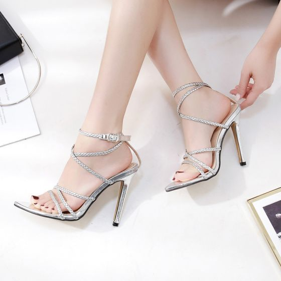 Sexy Silver Casual Braid Womens Sandals 2020 12 cm Stiletto Heels Open / Peep Toe Sandals