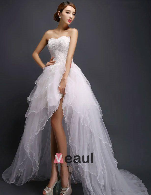 2015 A-linie Kurzen & Mini Schatz Asymmetrische Tüll Brautkleid