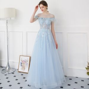 Modern / Fashion Sky Blue Evening Dresses  2018 A-Line / Princess See-through Scoop Neck Short Sleeve Beading Appliques Lace Pearl Feather Floor-Length / Long Backless Formal Dresses