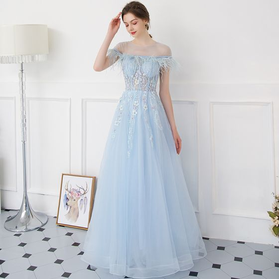 f2f9ec42859c Modern   Fashion Sky Blue Evening Dresses 2018 A-Line   Princess  See-through Scoop Neck Short Sleeve Beading Appliques Lace Pearl Feather  Floor-Length ...