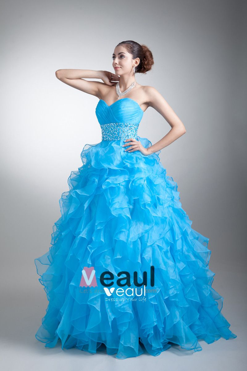 Ball Gown Organza Beading Ruffle Sweetheart Tiered Floor Length Quinceanera Prom Dress