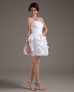 Ruffles Taffeta Sleeveless Strapless Short Mini Wedding Dresses