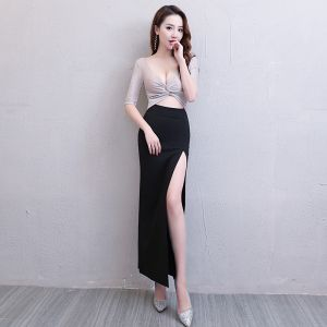 Sexy Black Silver Glitter Evening Dresses  2019 Trumpet / Mermaid V-Neck 1/2 Sleeves Split Front Ankle Length Formal Dresses