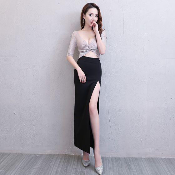Sexy Black Silver Glitter Evening Dresses  2019 Trumpet / Mermaid V-Neck 1/2 Sleeves Split Front Ankle Length Formal Dresses