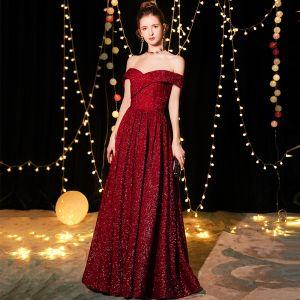 Bling Bling Bordeaux Robe De Soirée 2019 Princesse De l'épaule Manches Courtes Glitter Polyester Longue Volants Dos Nu Robe De Ceremonie