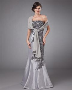 Satin Strapless Applique Trumpet Floor Length Mothers of Bride Guests Dresses