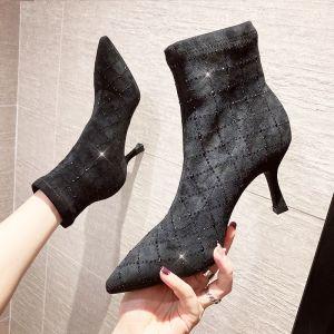 Mote Svart Gateklær Rhinestone Kvinners støvler 2020 Ankel 6 cm Stiletthæler Spisse Boots