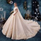 Elegant Champagne Wedding Dresses 2019 A-Line / Princess Off-The-Shoulder V-Neck Short Sleeve Backless Appliques Lace Beading Cathedral Train Ruffle