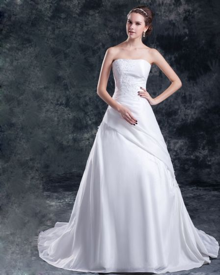 Cekiny Tafty Applique Sad Pociag Suknia Bez Ramiaczek Linii Kobiet Suknie Ślubne Sukienki Ślubne Princessa