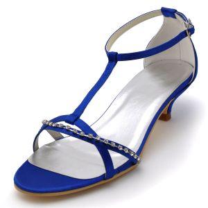 Chaussures De Soirée A Talons Bas Ouvert En Satin Orteil Chaussures De Mariage Chaine De Diamant Tete Decorative