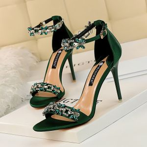 Sexy Dark Green Evening Party Womens Sandals 2020 Rhinestone Ankle Strap 9 cm Stiletto Heels Open / Peep Toe Sandals