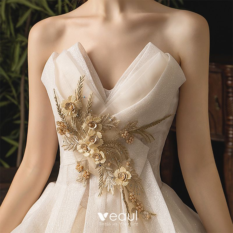 Classy Champagne Wedding Dresses 2019 A-Line / Princess Strapless Appliques Pearl Sequins Lace Flower Sleeveless Backless Cascading Ruffles Royal Train