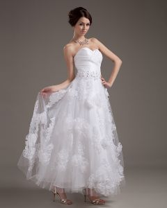 Organza Applique Sweetheart Short Bridal Gown Wedding Dress