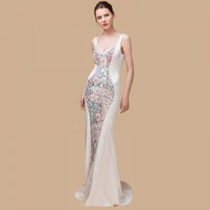 Sexy Ivory See-through Evening Dresses  2018 Trumpet / Mermaid Shoulders Sleeveless Sequins Rhinestone Beading Court Train Ruffle Backless Formal Dresses