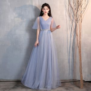 Chic / Beautiful Sky Blue Glitter Evening Dresses  2020 A-Line / Princess V-Neck Rhinestone Sash 1/2 Sleeves Backless Floor-Length / Long Formal Dresses