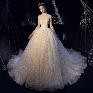 Sparkly Champagne See-through Wedding Dresses 2019 Ball Gown High Neck 3/4 Sleeve Backless Beading Glitter Sequins Chapel Train Ruffle