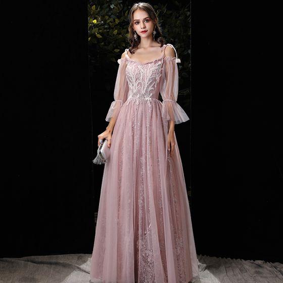 Elegante Rosa Abendkleider 2020 A Linie Off Shoulder Geschwollenes 3/4 Ärmel Spaghettiträger Rückenfreies Applikationen Spitze Perlenstickerei Lange Festliche Kleider