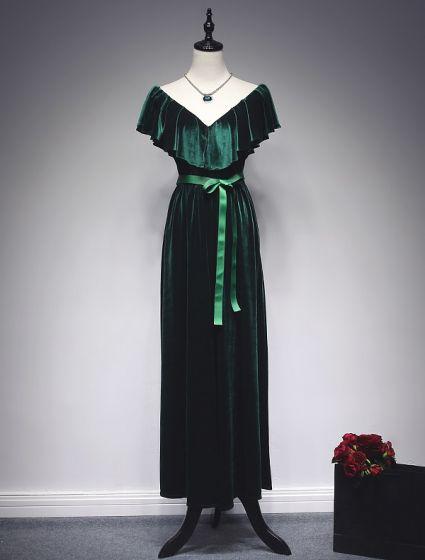 Elegant Mermaid Evening Dresses 2017 Ruffle V-neck Bowknot Sash Ankle Length Dress