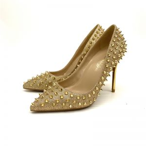 Sparkly Gold Evening Party Rivet Pumps 2020 Sequins 12 cm Stiletto Heels Pointed Toe Pumps