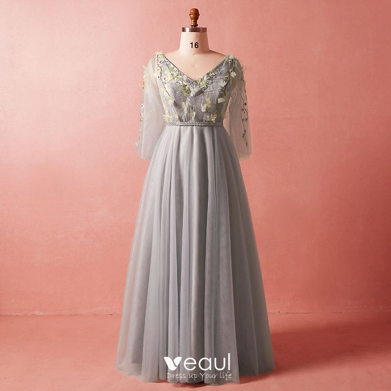 Chic / Beautiful Grey Plus Size Evening Dresses 2018 A-Line / Princess 3/4  Sleeve Spring V-Neck Tulle Crossed Straps Flower Appliques Backless Beading  ...