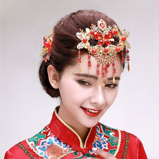 Chinese Stijl Strass Bruids Hoofdtooi / Gouden Haar Accessoires / Kleding Cheongsam Kwastje Frontlet