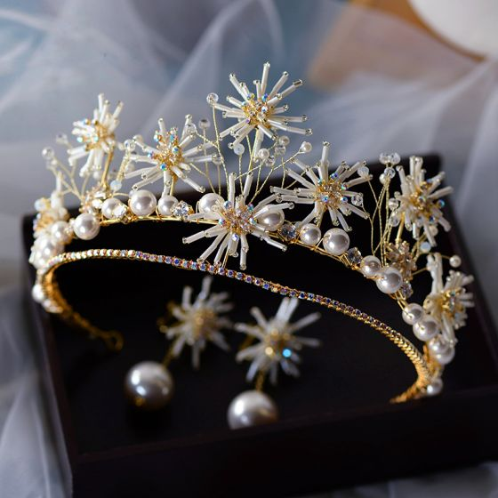 High-end Gold Earrings Tiara Bridal Jewelry 2020 Alloy Beading Pearl Wedding Accessories