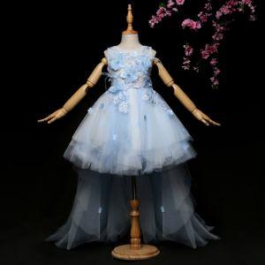 Schöne Himmelblau Mädchenkleider 2017 Ballkleid Spitze Applikationen Kristall Strass Rundhalsausschnitt Ärmellos Sweep / Pinsel Zug Kleider Für Hochzeit