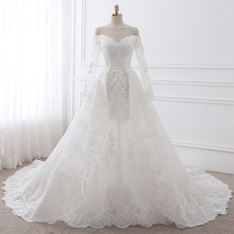 Chic / Beautiful Ball Gown Wedding Dresses 2017 Long Sleeve Appliques Sequins Lace Trumpet / Mermaid Detachable Chapel Train