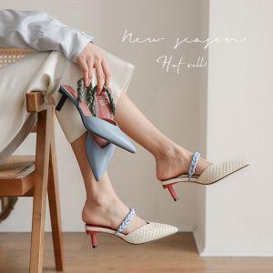 Piękne Beżowe Zużycie ulicy Warkocz Sandały Damskie 2020 Skórzany 5 cm Szpilki Szpiczaste Sandały