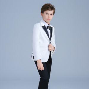 Élégant Blanche Manteau Noire Pantalon Faux Diamant Cravate Costumes De Mariage pour garçons 2019