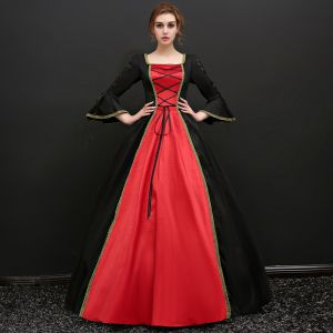Vintage / Retro Black Floor-Length / Long Ball Gown Prom Dresses 2018 U-Neck Lace Crossed Straps Backless Strappy Prom Formal Dresses