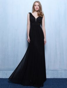 Sexy Evening Dresses 2016 A-line Low V Backless Black Ruffle Chiffon Dress With Beads