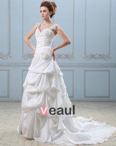 Aplikacja Recznie Koronki Ramie Kwiat Kochanie Tafty Suknia Balowa Suknie Ślubne Suknia Ślubna