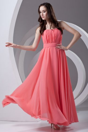 Strapless Pleated Ankle Length Chiffon Woman Bridesmaid Dress