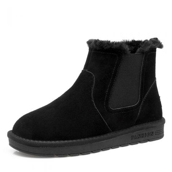 b93f41678bf7c Stylowe / Modne Buty Damskie 2017 Czarne Zamszowe Botki Skórzany  Przypadkowy Zima Płaskie Snow Boots