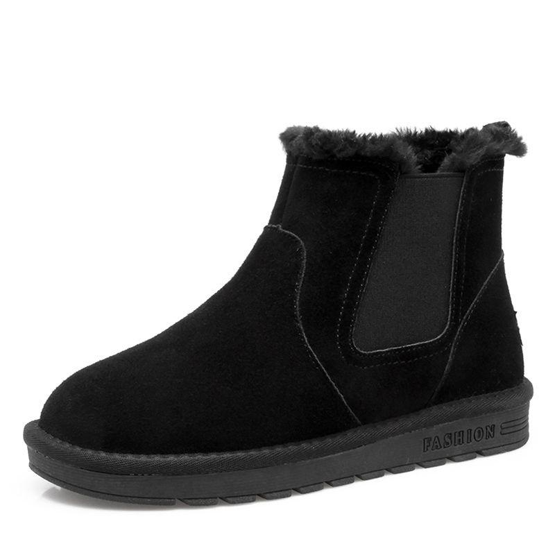 Stylowe Modne Buty Damskie 2017 Czarne Zamszowe Botki Skorzany Przypadkowy Zima Plaskie Snow Boots