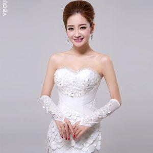 Weißer Spitze Mit Blumen Braut Fingerless Hochzeitshandschuhe