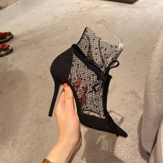 Sexy Zwarte Straatkleding Kant Sandalen Dames 2020 Strik Enkelband 9 cm Naaldhakken / Stiletto Spitse Neus Pumps
