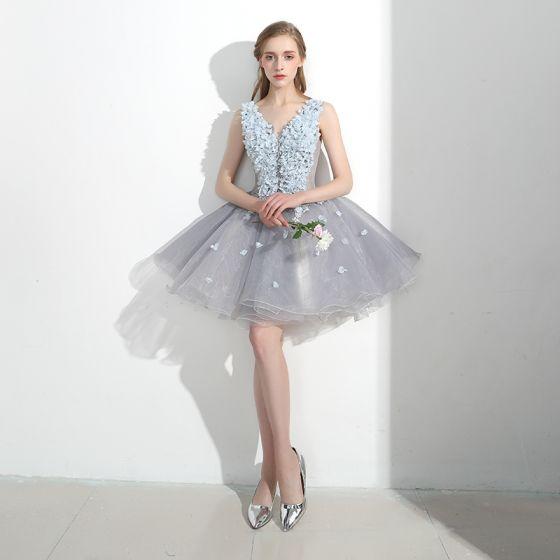 Hermoso Asequible Vestidos Formales Vestidos de fiesta 2017 Con Encaje Apliques Flor Sin Espalda V-Cuello Sin Mangas Cortos Gris Ball Gown