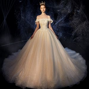 Sparkly Champagne Wedding Dresses 2019 Ball Gown Off-The-Shoulder Short Sleeve Backless Sequins Pearl Beading Glitter Tulle Chapel Train Ruffle