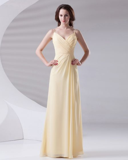 Slim Ruffle Design Spaghetti Floor Length Chiffon Bridesmaid Dress