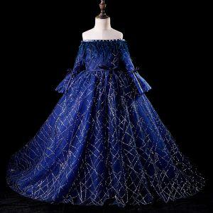Elegantes Azul Real Vestidos para niñas 2019 Ball Gown Fuera Del Hombro Hinchado Manga Larga Cinturón Glitter Lentejuelas Pluma Chapel Train Ruffle Sin Espalda Vestidos para bodas