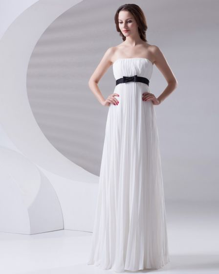 Slim Ruffle Design with Belt Decoration Strapless Floor Length Chiffon Bridesmaid Dress