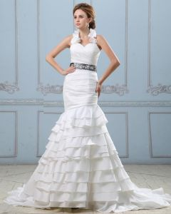Ruffle Sweetheart Neck Beading Belt Taffeta Mermaid Wedding Dress